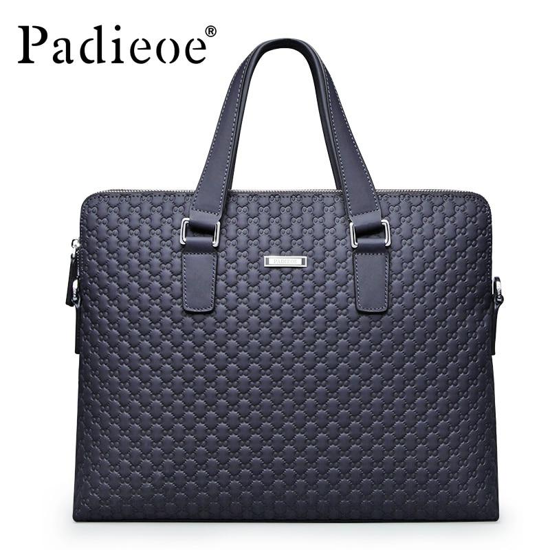 Padieoe Briefcase Laptop-Bag Blue Handbag Business-Bags 14inch Men Plaid High-Quality