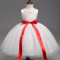 Layer Lace Christening Dresses For Baby Girls Red Ribbon Sleeveless Girls Party Dress Kids 1 Year