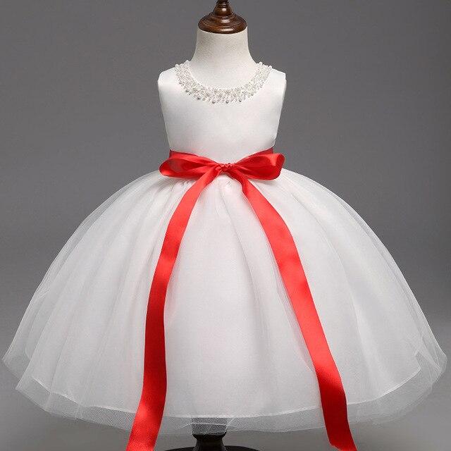 Schicht Schnüren Taufe Kleider für Babys Roten Band Sleeveless ...