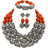Fashion Orange Artificial Coral African Beads Jewelry Set Nigerian Wedding Necklace Bridal Jewelry Sets FSH 005