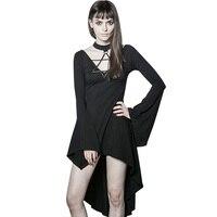 Gothique Punk de Femmes Sexy Sirène Noir Foncé Vintage Flare Manches Asymétrique Robe Tout-Allumette Femelle Mini Robes D'été vêtements