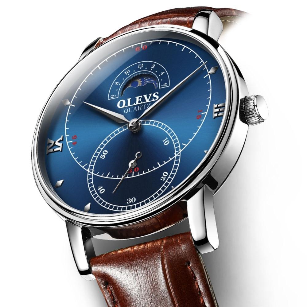 b82f06062f9 Ultra fino Mens Relógios de Quartzo Data Automática Relógio Homens Marca de  Luxo de Couro Relógios