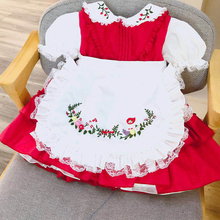 6sets/lot Summer Girl Lace Embroidered Cotton Maid Lolita Princess Dress Spanish Birthday Party for Girls G029