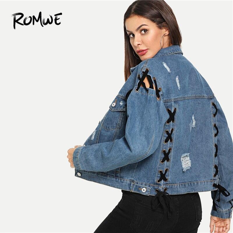 ROMWE/рваные джинсовые куртки со шнуровкой, однобортный джинсовый пиджак 2019, повседневная женская синяя весенне-осенняя верхняя одежда с карм...