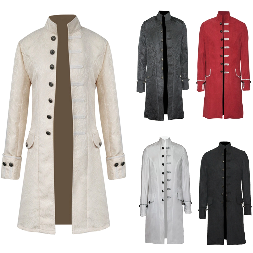 Retro Mens Steampunk Gothic Brocade Jacket Stand Collar Victorian Morning Frock Coat   Trench   Velvet Trim Overcoat Outfit S-3XL