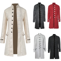 Retro Mens Steampunk Gothic Brocade Jacket Stand Collar Victorian Morning Frock Coat Trench Velvet Trim Overcoat Outfit S 3XL
