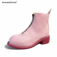HANSCHIC 2017 Autumn New Fashion Handmade Retro Unique Design Pink Womens Ladies Leather Boots with Zippers for Female 1089