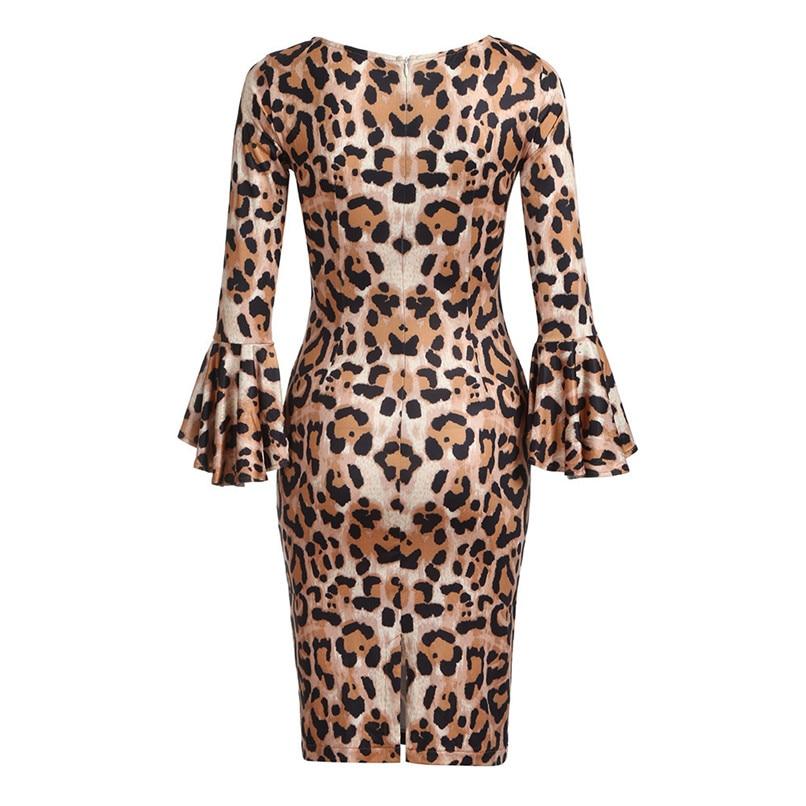 Leopard Dress Print 2018 Women Sexy Half Sleeve Midi Swing Dresses Lady Bodycon Party Club Hot Evening Vestdos #F#40OC162