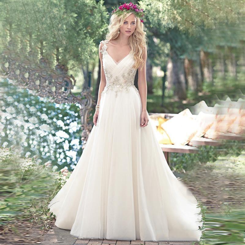 Backless Beach Wedding Dresses V Neck Flowing Vintage Boho: New Arrival Spring Beach Wedding Dresses Vintage Crystal