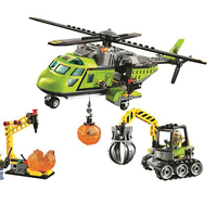 Bela 10640 City Series Volcano Supply Helicopter Geological Prospecting Building Block Bricks Compatible Legoed Volcano 60123