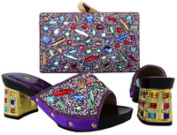 High class slip on African shoes and handbag sets nice stones pumps with clutch purse for evening party BCH 18 in purple