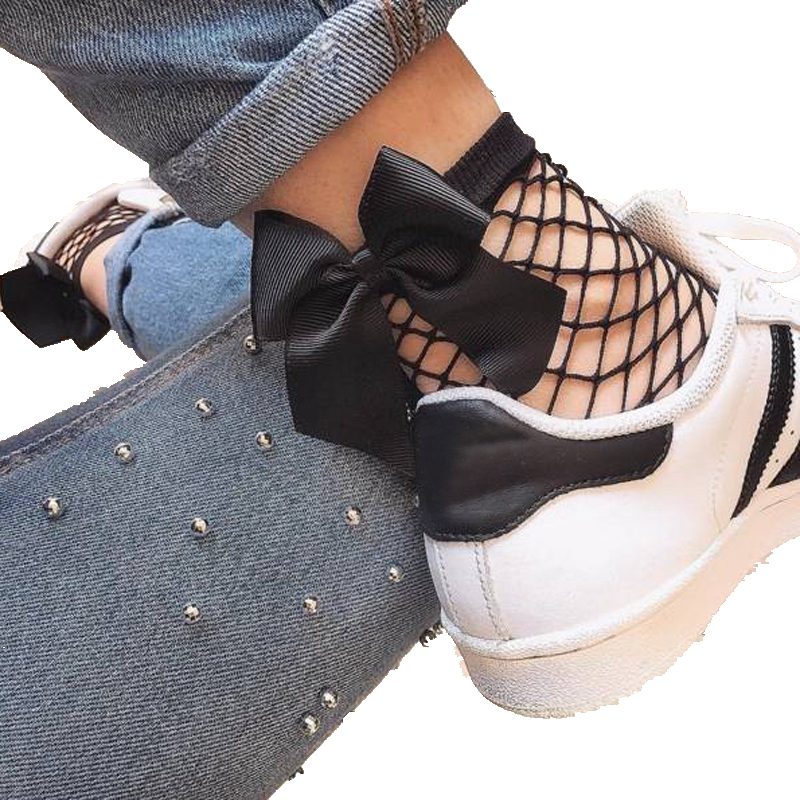 ABC Fishnet New 2017 Women BOW Fishnet Ankle High Socks Mesh Lace Fish Net Short Socks