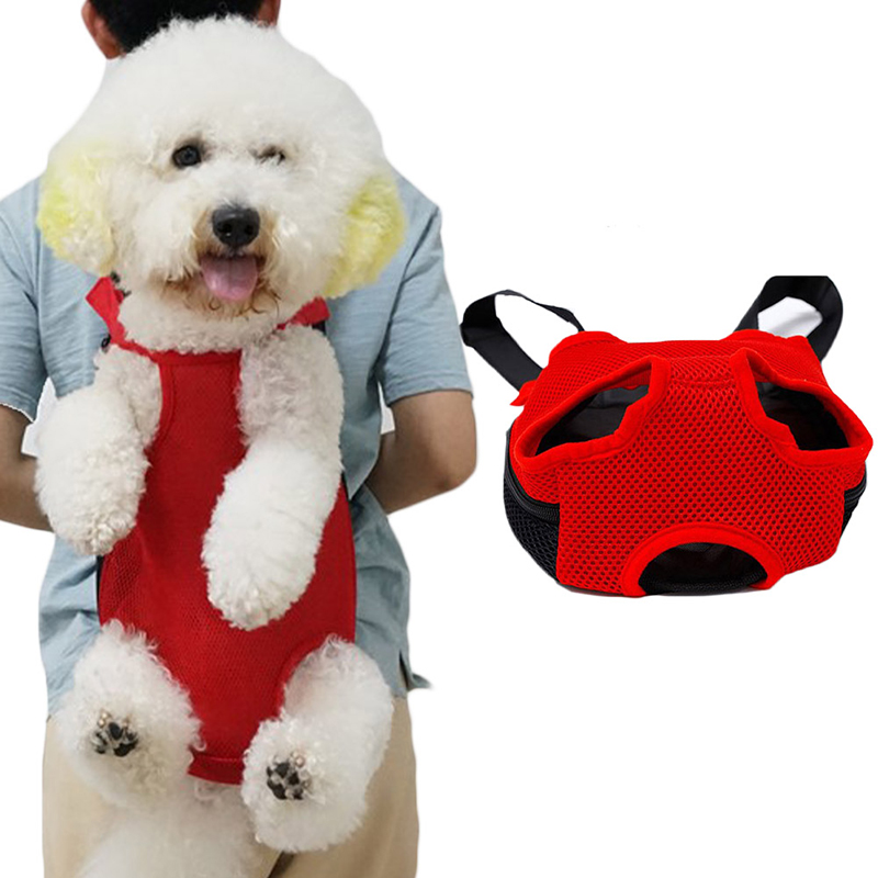 Pet Carrier Dog Front Chest Backpack Five Holes Backpack Dog Outdoor Carrier Tote Bag Sling Holder Mesh Cat Puppy Dog Carrier 14