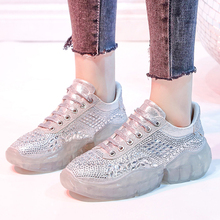 Women Sneakers 2019 Crystal Glitter Shoes Woman Transparent Creepers Platform Sneaker Footwear zapatos mujer