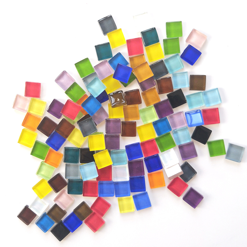50 Pieces 10*10*4mm Colored Crystal Glass Square Puzzle Game Pieces For Children Creative Hand DTY Board Games