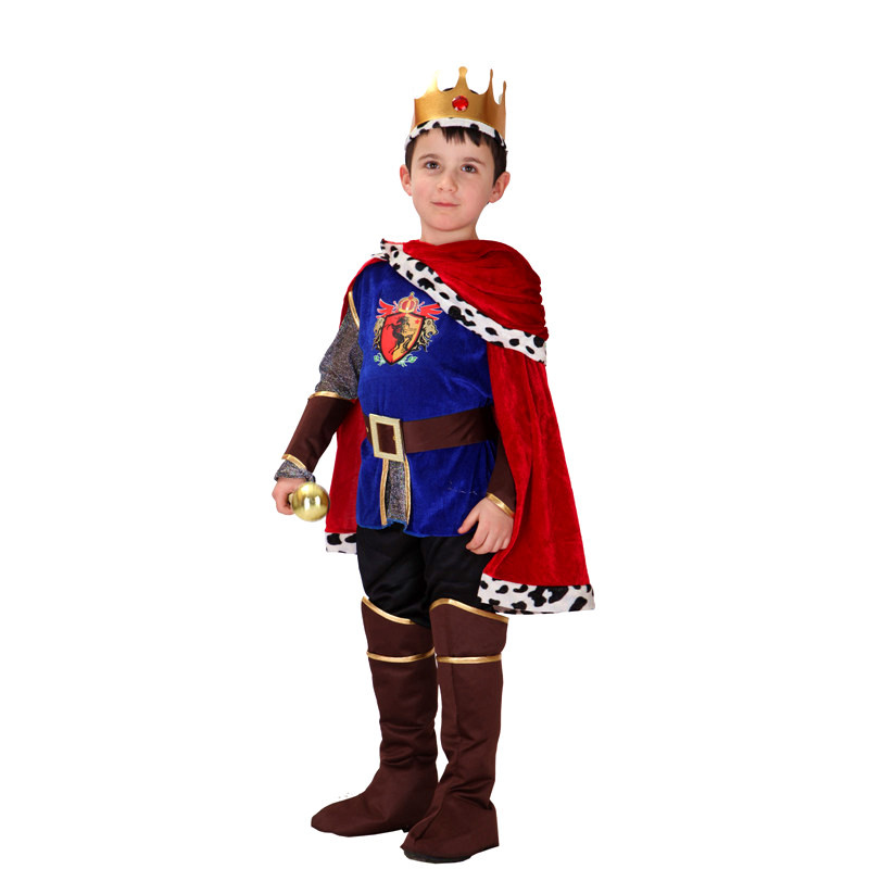 Boys Europe Prince King Cosplay Children's day Halloween Caesar Costumes Purim Masquerade Carnival Stage performance play dress