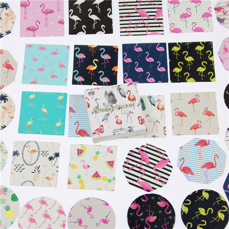 45Pcs/box Cartoon Flamingo Diy Scrapbook Paper Lable Stickers Crafts And Scrapbooking Decorative Lifelog Sticker Cute Stationery