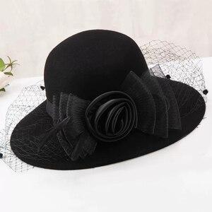 Image 2 - 2019 エレガントな女性のウールワイドつば帽子クローシュボウラーの fedora フェルト秋冬教会帽子帽子ファムキャップワイン赤黒