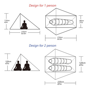 Image 5 - A Peak Ultra light Rodless Tent 1 2 Person for Camping Hiking Trekking Backpacking Waterproof 20D Tent Solo Single Bivvy Tent