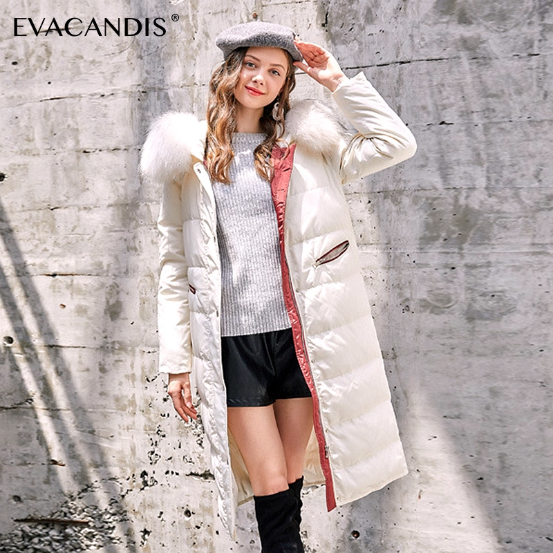 Long Hooded Fur Collar   Down     Coat   Korean Elegant White Duck   Down   Jacket Warm Windproof Overcoat Women Winter 2018