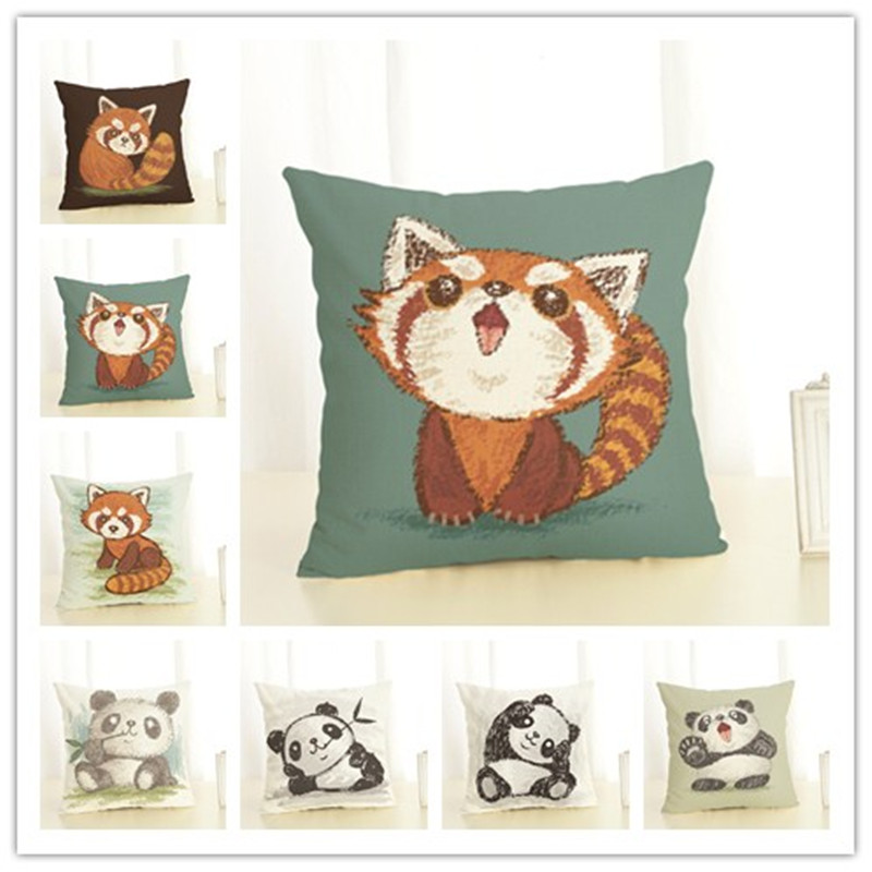 Hot selling wasberen en panda's linnen katoen vierkante retro bloemen home decor sierkussen kussenhoes cojines