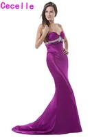 2017 Vestidos De Festa Designer Sexy Purple Mermaid Sweetheart Celebrity Evening Dresses Gowns Open Beade Crystals
