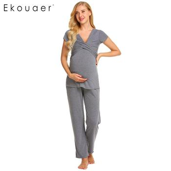 Ekouaer Women Pajamas Set Nightwear Breastfeeding Nursing Pajama Maternity Pregnancy Loungewear Sleepwear Set Female Soft Cloth pajamas