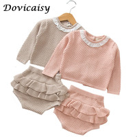 T Autumn Winter Knit Baby Girls Rompers Bow Sweater Cotton Infant baby Knitted Overalls Baby Jumpsuit Toddler Clothing