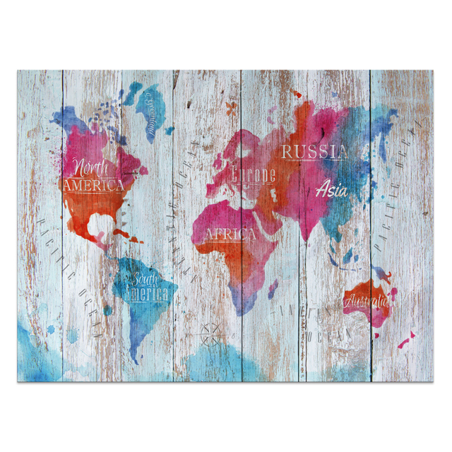 1 Panel Hd Printed World Map Painting Wood Board Canvas Art Printing
