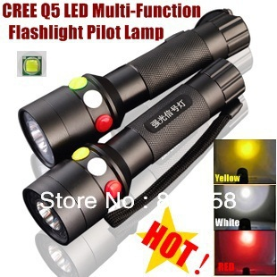 XH-97 CREE Q5 LED signal light Yellow White Red LED Flashlight Torch Bright light signal lamp For 1 x 18650 Battery cree q5 led signal light yellow white red torch bright light signal lamp for 1x18650 or 3 x aaa battery flashlight led
