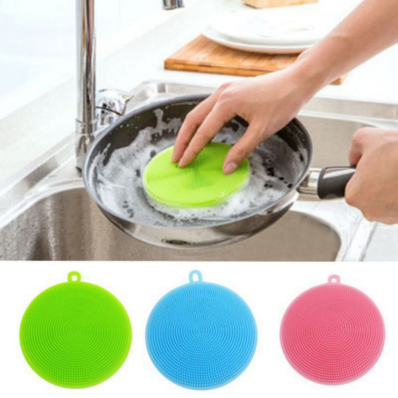 Round Silicone Multifunctional Fruit and Vegetable Cleaning Brush White Cloth Pot Brush Household Cleaning Gadget
