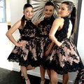Black Lace Vestidos Curtos Prom Transporte Rápido Halter Uma Linha de Vestido de Noite Das Mulheres para a Graduação vestidos de baile Promdress