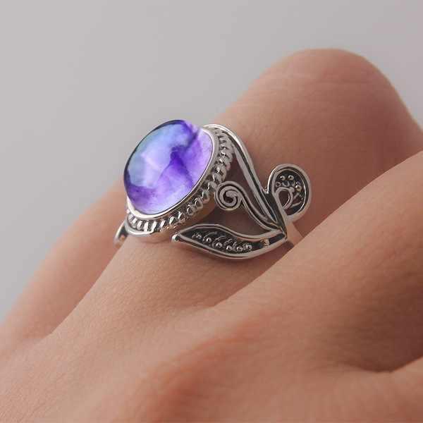 Boho หญิงสีม่วง Moonstone แหวนผู้ชายโบราณ 925 เงินรอบหินโอปอลงานแต่งงานแหวนเครื่องประดับหญิง