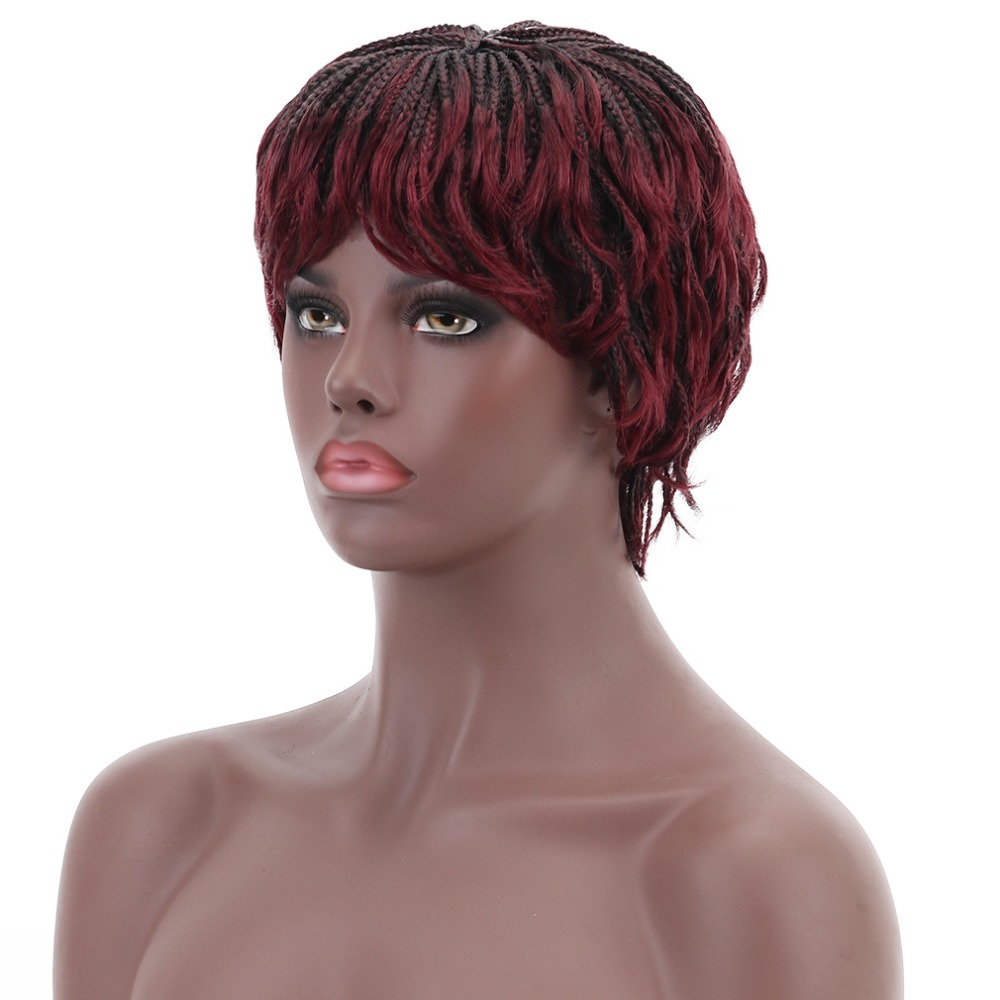Image 3 - 12'' Short Braided Box Braids Wigs for Black Women Synthetic Hair Cosplay African American Women's Wig With Bangs Heat Resistant-in Synthetic None-Lace  Wigs from Hair Extensions & Wigs