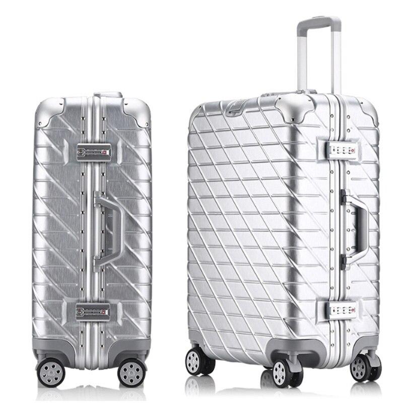 20''22''24''26''29'' d'affaires Voyage Bagages À Roulettes En Aluminium Cadre TSA Serrure Spinner Roues Cabine Valise Effectuer Sur Chariot