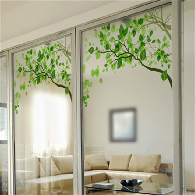 KEDODE Green Leaves Window Frosted Glass Door Bathroom Bathroom Window  Stickers No Smell And Health Decoration