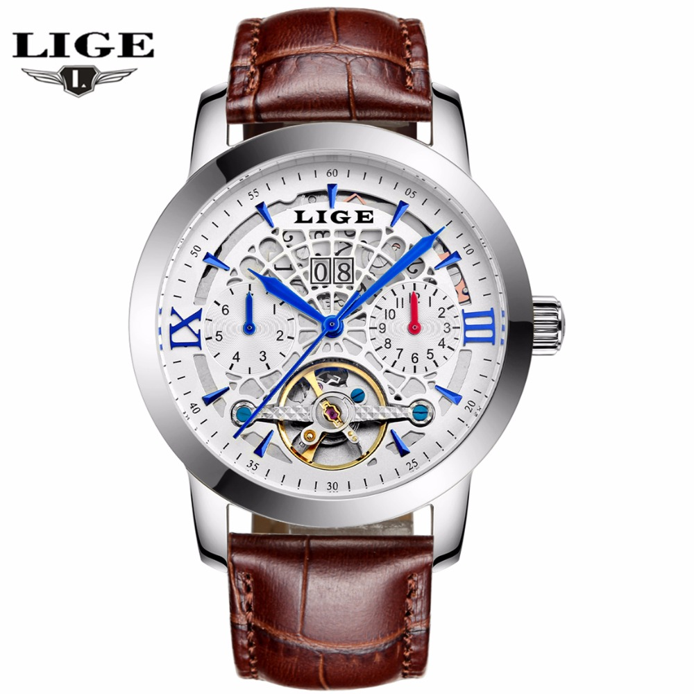 ФОТО LIGE Watches Men 2016 New Fashion Mechanical Business Tourbillon Watches For Male Waterproof Hollow Leather Wristwatches Relojes