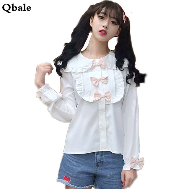 Qbale Japan Soft Sister Kawaii White Shirt Women Spring Summer 90s Cute Bow  Appliques Peter pan