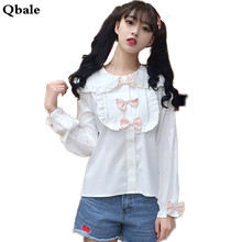 Qbale Japan Soft Sister Kawaii White Shirt Women Spring Summer 90s Cute Bow Appliques Peter pan Collar Long Sleeve Women Tops