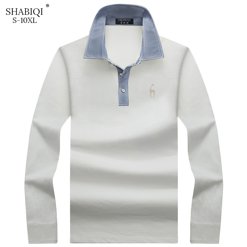 SHABIQI Men   Polo   Shirt Mens Long Sleeve Solid   Polo   Shirts Camisa Casual cotton   Polos   multiple colour Plus size 6XL7XL8XL9XL10XL