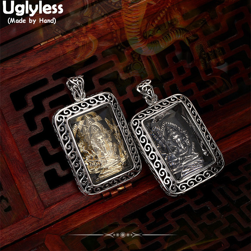 Uglyless Real 925 Sterling Silver Hinduism Elephant God Pendants without Chains Hollow Square Fine Jewelry Retro Handmade BijouxUglyless Real 925 Sterling Silver Hinduism Elephant God Pendants without Chains Hollow Square Fine Jewelry Retro Handmade Bijoux