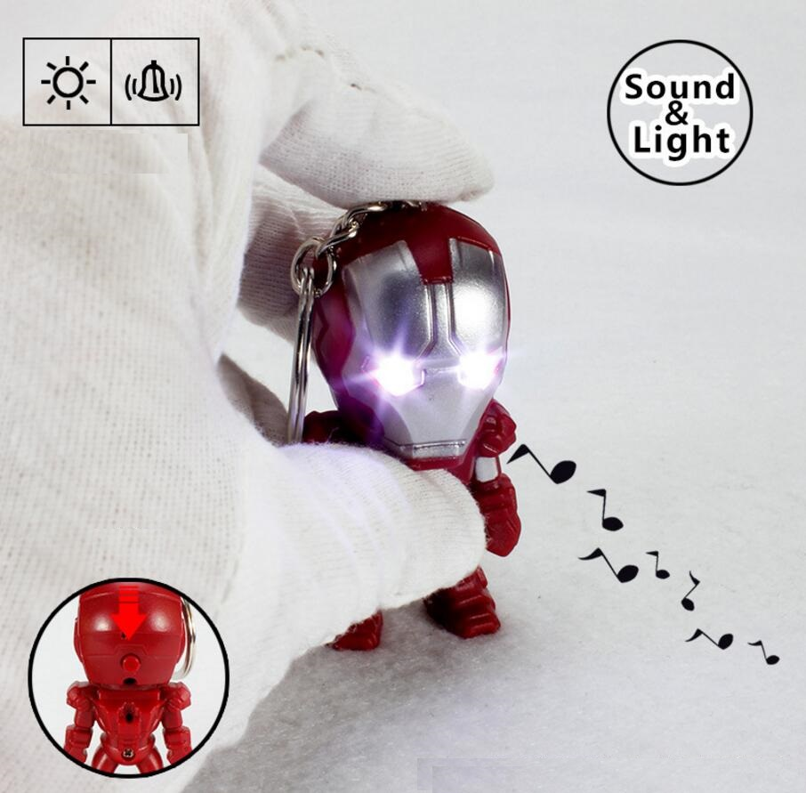 Marvel The Avengers Iron Man LED Flashlight Action Figures Toys With Sound Keychain Bags Accessories Gifts