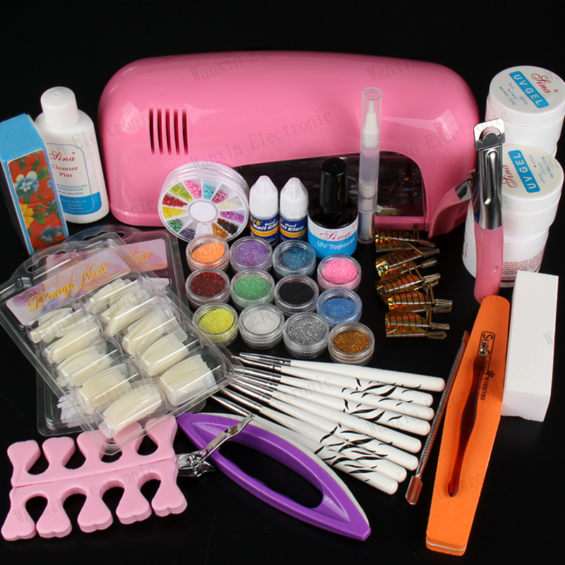 FREE SHIPPING Professional Nail Art Kit Color Uv Gel Full