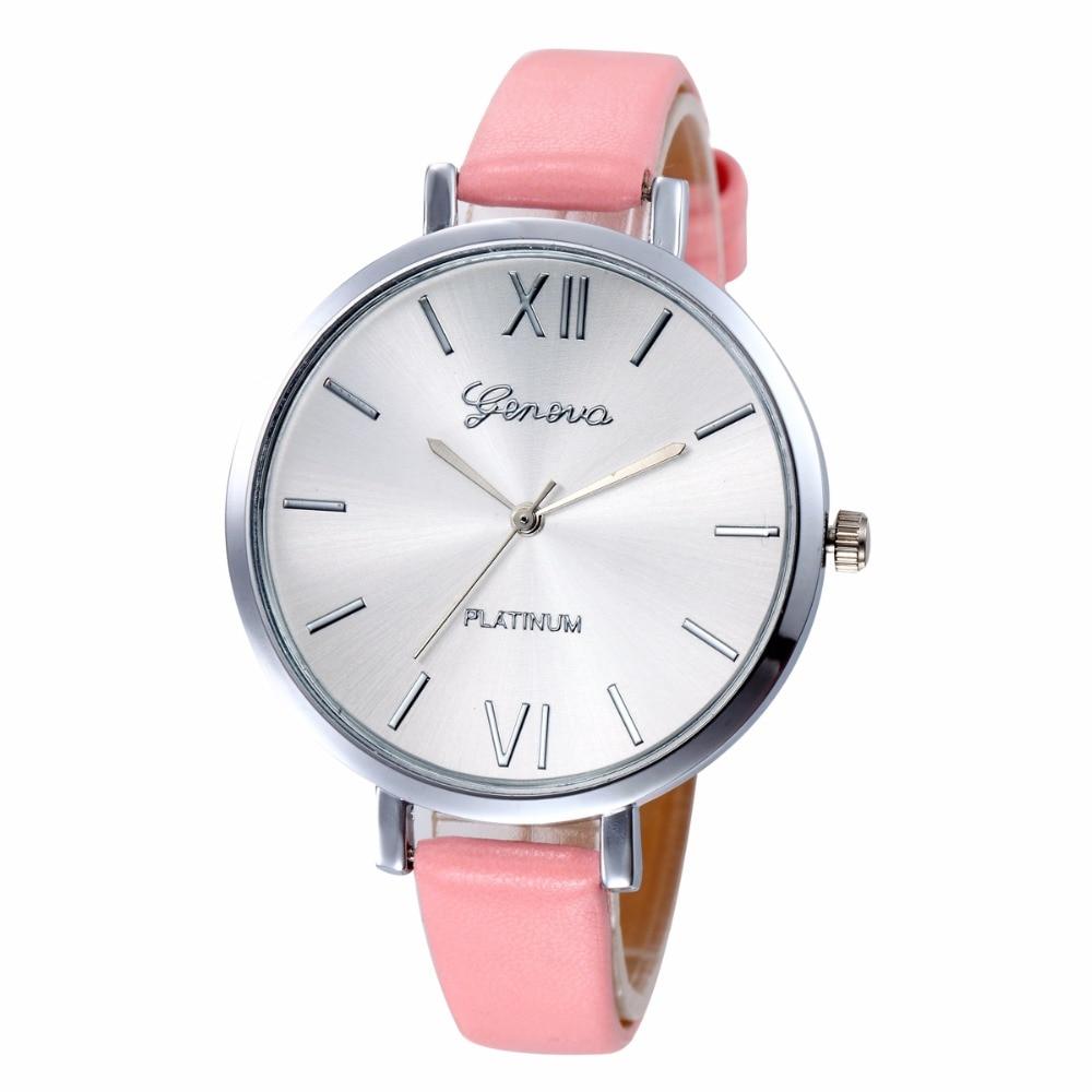 eed80c98f3ff8 US $150.1 5% OFF|Fashion Sliver Face Watches Women PU Leather Strap Geneva  Watch Lady Womens Sports Clock Quartz Wrist Watch 100pcs/lot-in Women's ...