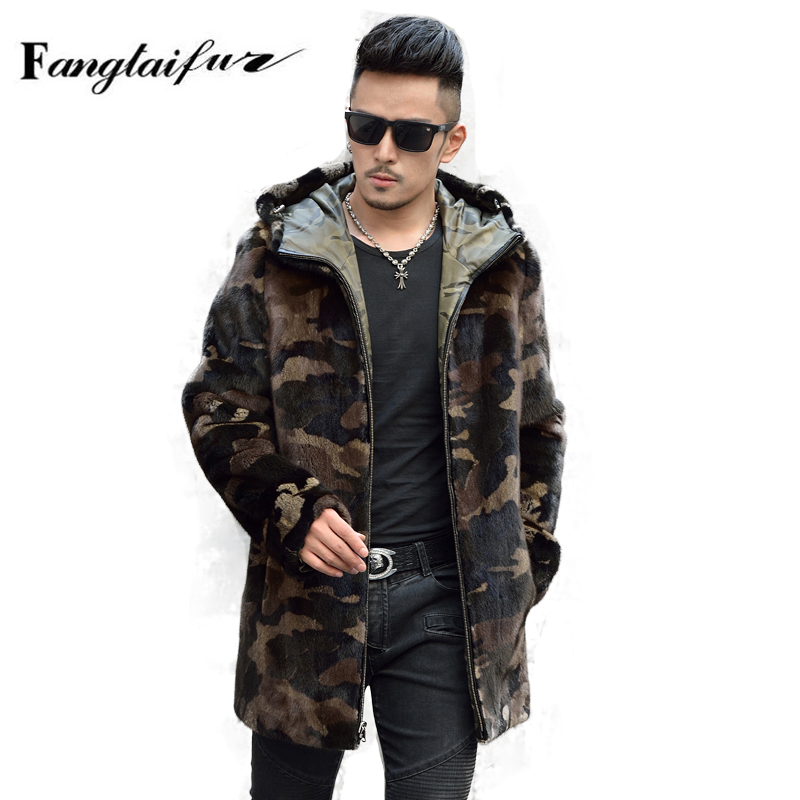 Fang Tai Fur 2019 Men Import Velvet Mink Fur Coat With Fur Hood Camouflage Mink Coats Men's Long Smart Causal Real Mink Coats(China)