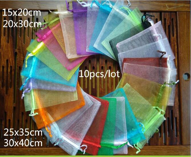 10 Stücke 15x20 20x30 25x35 30x40 Cm Organzabeutel Schmuck Verpackung Taschen Hochzeit Display Drawable Weihnachtsgeschenk Taschen & Beutel