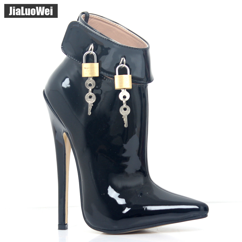 jialuowei Fashion 18cm Ultra High Heels Pointed toe Zip Buckle Strap Padlock Ankle Short Boots Women Sexy Fetish Lockable Boots sexy women s short boots with square buckle and pointed toe design