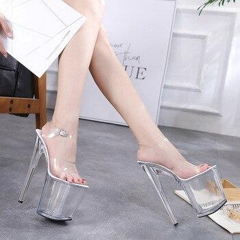 2019 Women Shoes Sandale New Summer Women Sandals Shoes Female PVC Transparent Crystal Sexy High Heels 15CM Ladies Shoes Pumps