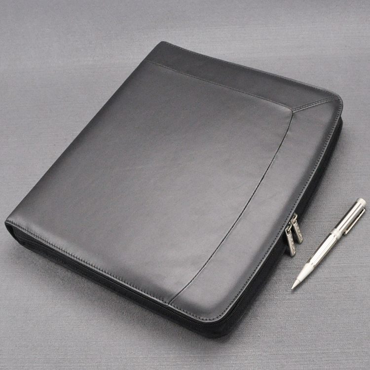 Executive Genuine Leather A4 Folder Zipper Padfolio