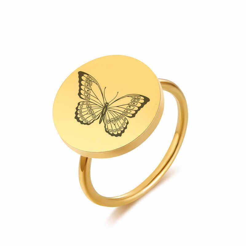 แมวน่ารักแหวนผู้หญิง Gold สีสแตนเลสหมั้นเครื่องประดับรอบ Dropshipping